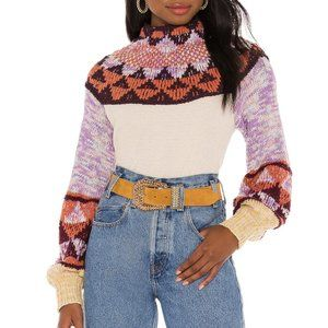FREE PEOPLE Swit The Small Stuff Femme Combo Mock Neck Knit Pullover Sweater